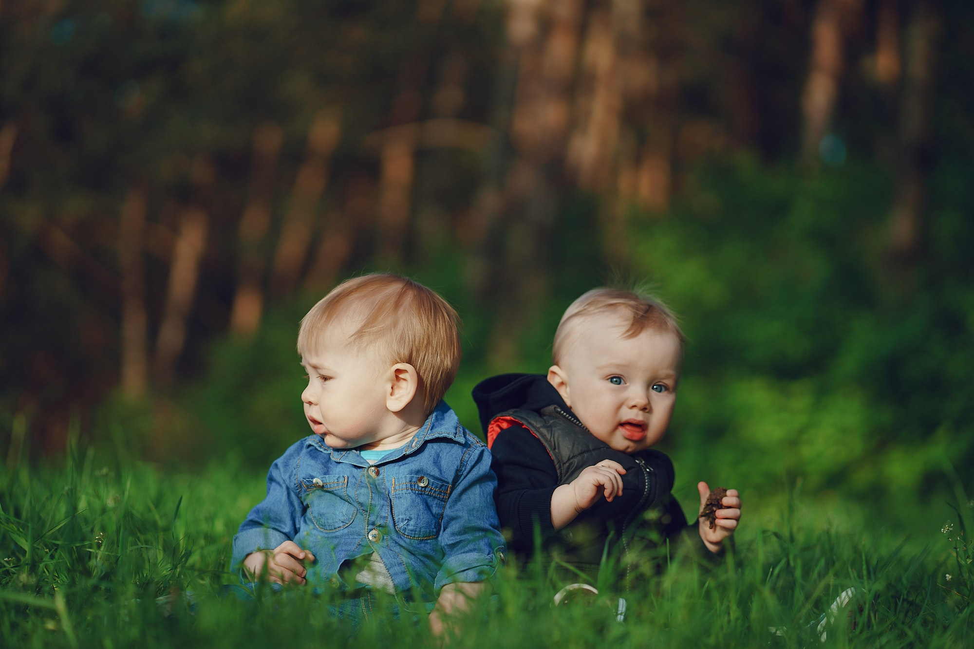 children in the grass